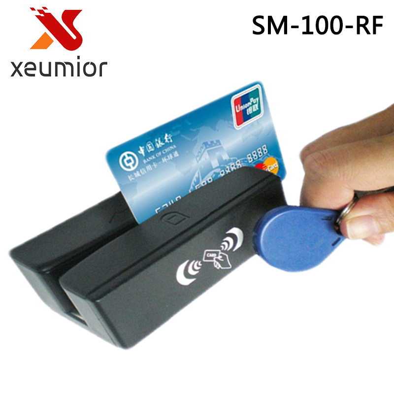 13.56 MHz RFID Card Reader & Writer and USB Magnetic Stripe Card 3 Tracks Reader SM100-RF,Freeship magnetic card reader msre206 magstripe writer encoder swipe usb interface black vs 206 605 606 ship from uk us cn stock