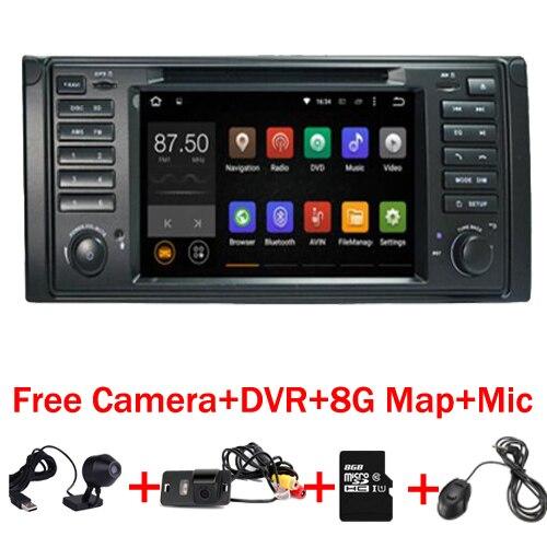 Android 7.1 Quad Core GPS Navigation 7 Lecteur DVD de voiture pour BMW E39 5 Série/M5 1997-2003 Wifi 3G Bluetooth DVR RDS USB Canbus
