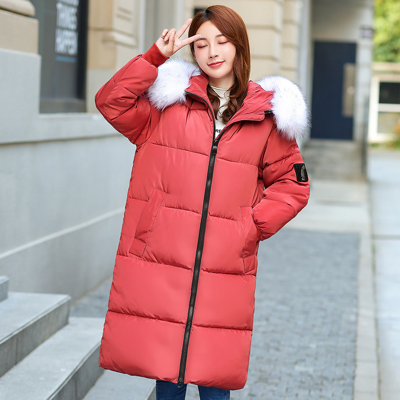 2019 Fur Hooded Plus Size Winter Jacket Women Thick Parkas Long Winter Coat Women Down Cotton Lady Wadded Jacket Female 7XL