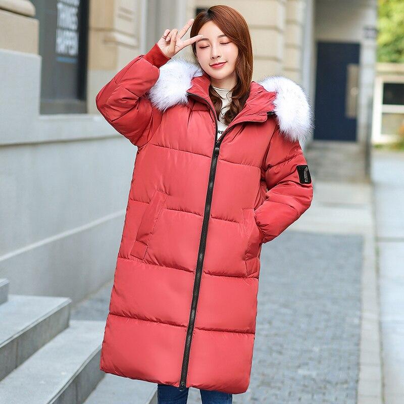 2019 Fur Hooded Plus Size Winter Jacket Women Thick Parkas Long Winter Coat Women Down Cotton Lady Wadded Jacket Female 7XL