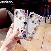 XINGDUO for Huawei Case Cover P8/P8Lite/P9Lite/P9Plus/P10/Mate8/9/Glory 6X/8/9/10 Fashion girl Love Rhinestone Diamond shell