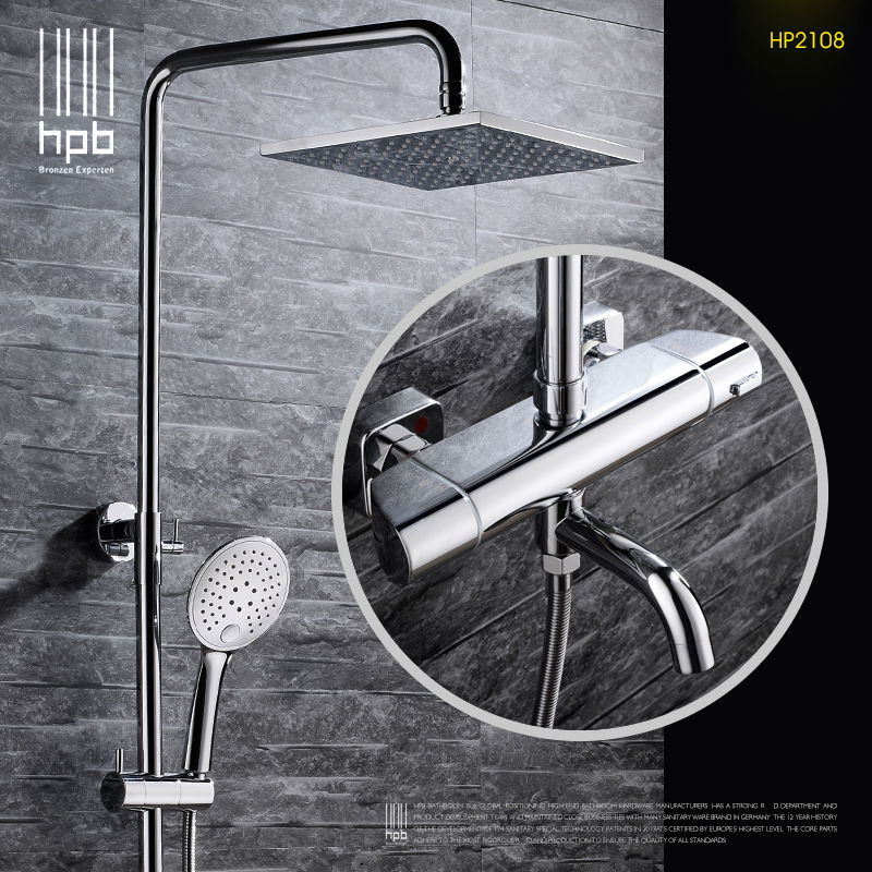 HPB Brass Thermostatic Bathroom Hot And Cold Water Mixer Bath Shower Set Faucet torneira banheiro HP2108 hpb brass chrome finished thermostatic faucet bathroom shower faucets wall mounted bathtub mixer bath set fashion style hp5201