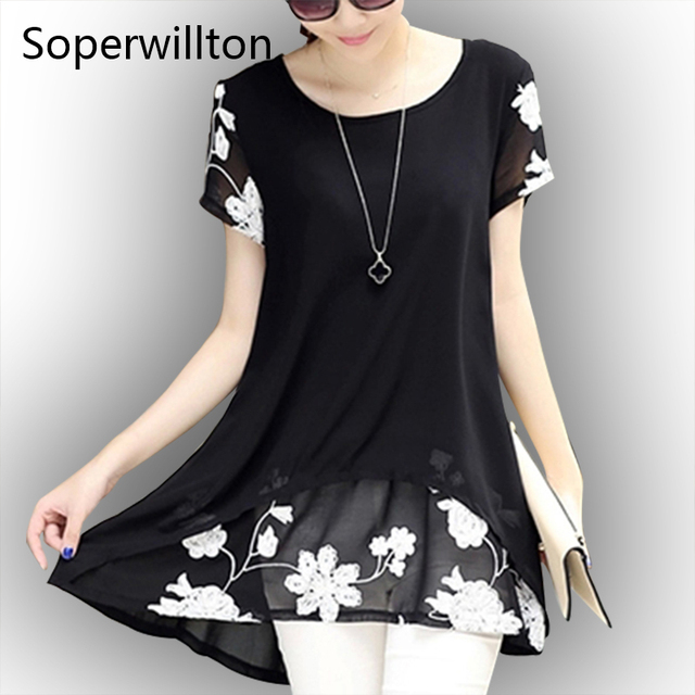 Summer Casual Shirt Women Blouse Loose Plus Size M-4XL O-Neck Short Sleeve Floral Fake 2 pieces Black Blouses Shirts Blusas Top