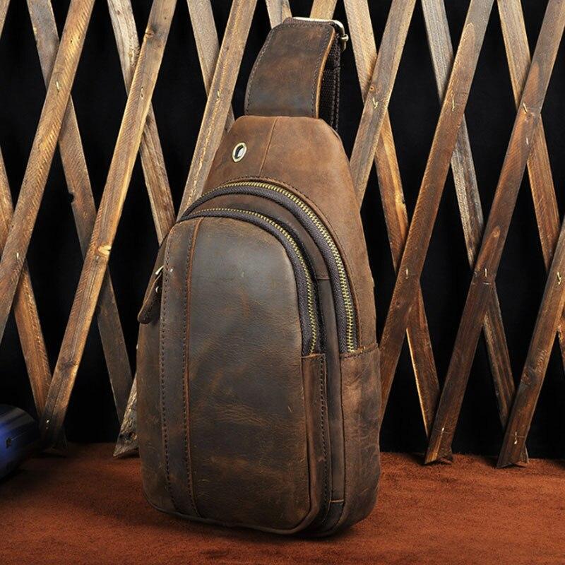 Marka mężczyźni Crazy Horse skóry wołowej saszetka/nerka wysokiej jakości w stylu Vintage Messenger na ramię pakiet Sling pierś powrót torba w Saszetki od Bagaże i torby na  Grupa 1