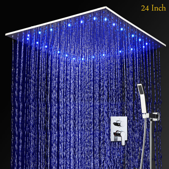 Rain Shower Heads Ceiling Mounted LED Lighted Water Shower System 24 Inch  Stainless Steel Shower