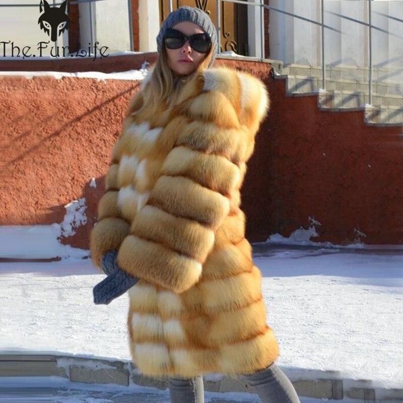 90cm Fourrure Dames Manteaux Renard 100cm Véritable Manteau Survêtement Nouvelle Capuche 2018 Printemps Avec Réel Mode Femmes De Naturel v0Tvq4f