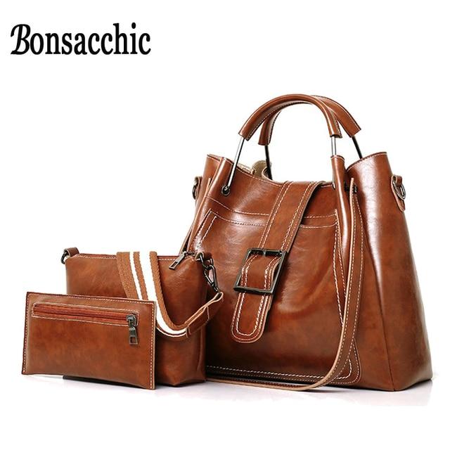 e26ed3de9e Bonsacchic 3pcs PU Leather Women Bag Set Ladies Bag Handbag Women Famous  Brand Top Handle Tote Bags for Women Purses and Handbag