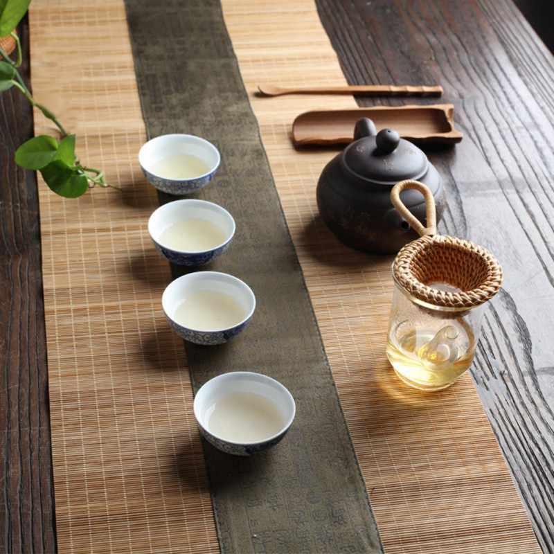 Portable Saringan Teh Bambu Rotan Labu Berbentuk Daun Teh Corong untuk Meja Teh Dekorasi Upacara Minum Teh Aksesoris