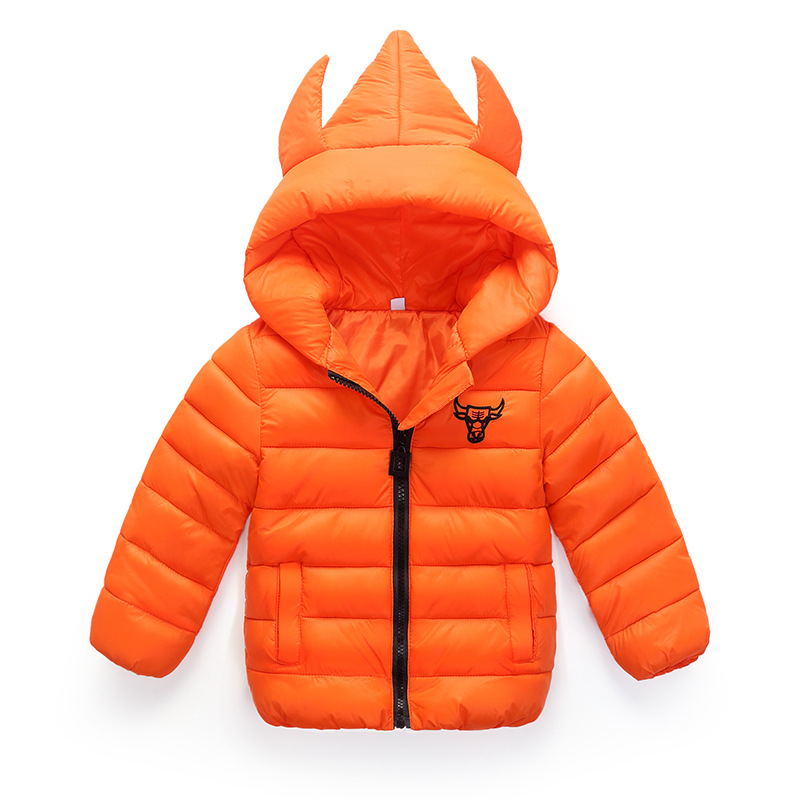 Cute cow head Child Boy Girl Jackets for girls childrens autumn winter coat clothing Kid Hooded Thin cotton-padded jacket parka