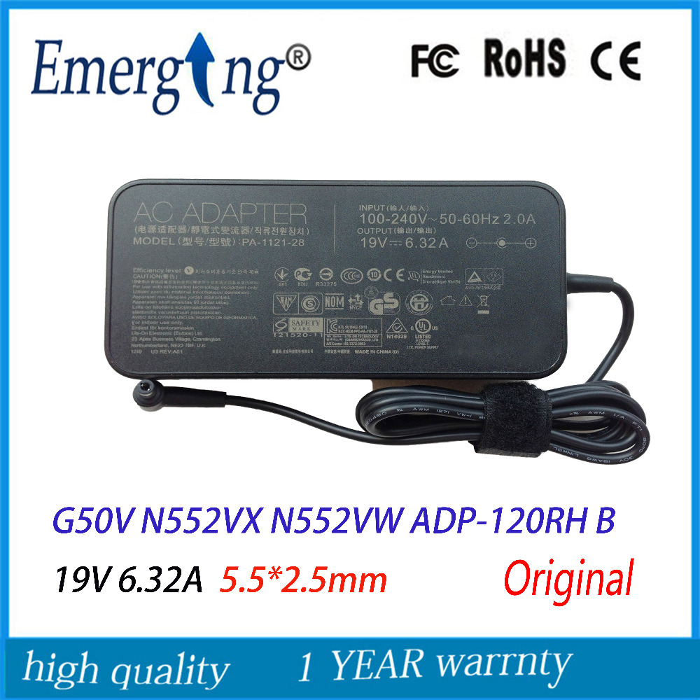 19V 6.32A 5.5*2.5mm 120W New AC Laptop Adapter For ASUS G50V G50 N500 N552VX N552VW ADP-120RH B slim All-in-one asus laptop adapter 19v 6 32a 120w 5 5 2 5 pa 1121 28 ac power charger for asus n750 n500 g50 n53s n55 laptop