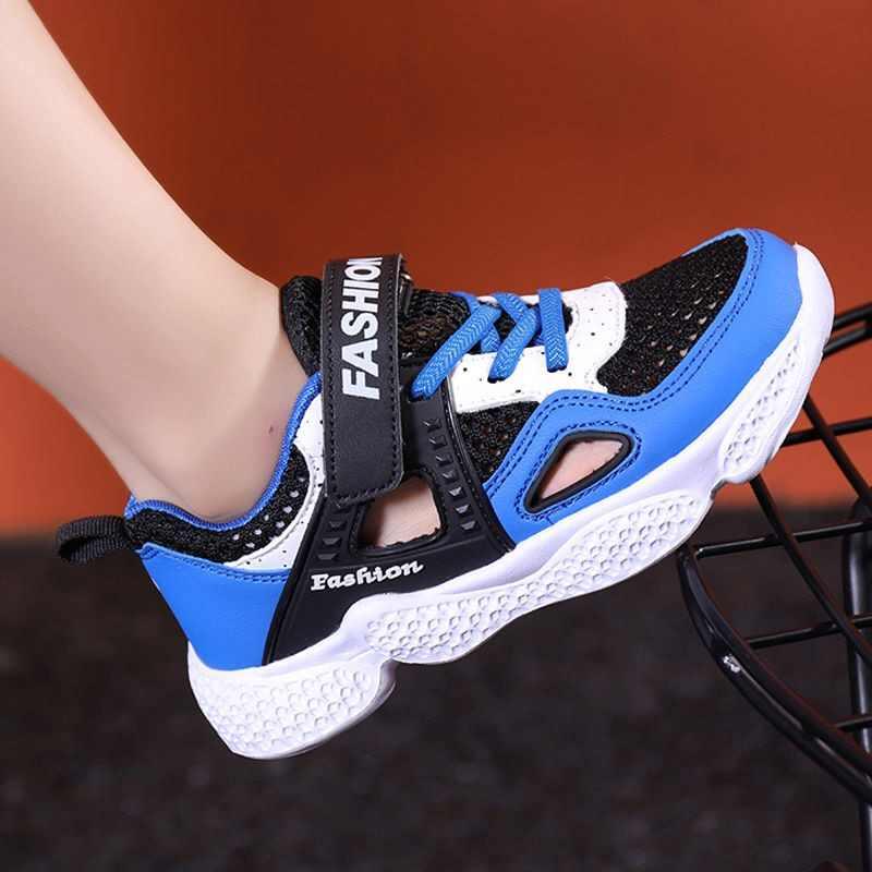 ขายร้อน 2019 ใหม่แฟชั่นฤดูร้อนสไตล์เด็กสบายๆรองเท้าสีตาข่ายด้านบน Boy & Girl รองเท้าผ้าใบ Hook & Loop เด็กรองเท้าเทรนเนอร์