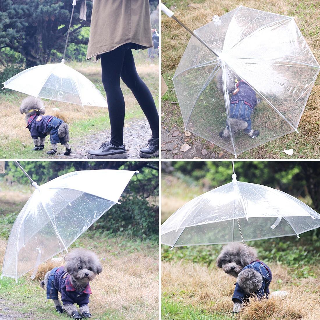 Useful Transparent Pet Cat Umbrella Small Dog Umbrella Rain Gear With Dog Leads Keeps Pet Dry Comfortable In Rain Snowing