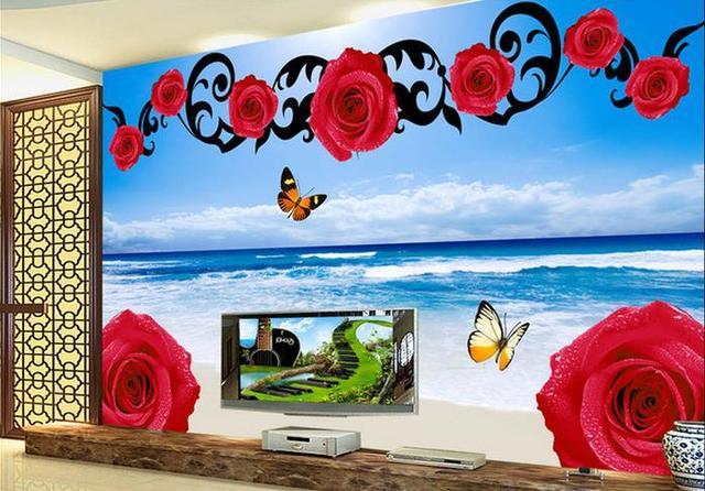 3d Carta Da Parati Per Camera Paesaggio Mare Rosa Sfondo Bagno