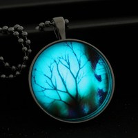 Glowing Pendant Necklaces Tree Of Life Glass Cabochon Necklace Pendants Glass Art Photo Glow In The