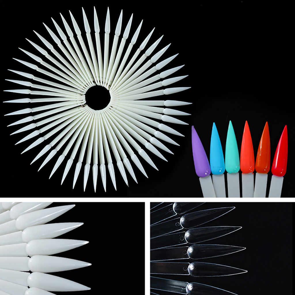 Naturel/clair 50 pièces faux ongles conseils panneau d'affichage en forme d'éventail acrylique UV vernis couleur carte manucure Nail Art pratique outils #1