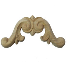 Floral Wood Carved Corner Applique Wooden Carving Decal  Furniture Cabinet Door Frame Wall Home Decoration Accessories
