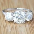 Queen Brilliance 4.7 Карата ct 3 Камень GH Цвет Свадьбы группа Юбилейная Lab Grown Moissanite Кольцо С Бриллиантом 14 К 585 Белый золото
