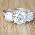 Queen brilliance 4.7 carat ct 3 gh cor de pedra casamento banda Aniversário Lab Grown Moissanite Anel de Diamante 14 K 585 Branco ouro