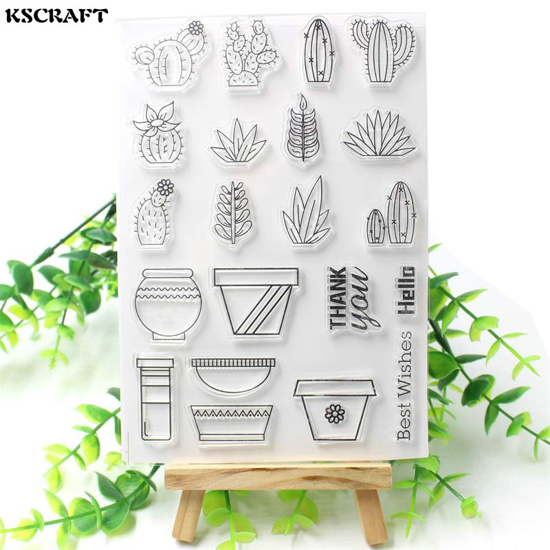 KSCRAFT Succulent Plants Transparent Clear Silicone Stamp/Seal for DIY scrapbooking/photo album Decorative clear stamp sheets kscraft love travelling transparent clear silicone stamp seal for diy scrapbooking photo album decorative clear stamp sheets