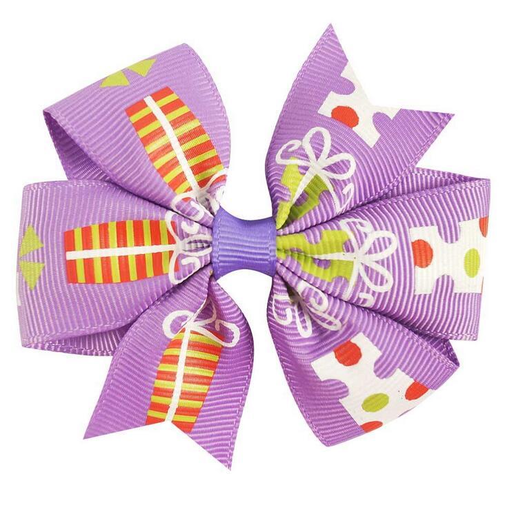 DHL free shipping 200pcs/lot 3 Girls Christmas Gift Pinwheel Hair Bows Hair Clips Barrette