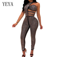 YEYA New Bling Rhinestone Diamonds Jumpsuits Women Sleeveless Hollow Out Hole Skinny Bodysuits Summer Romper Performance Outfits