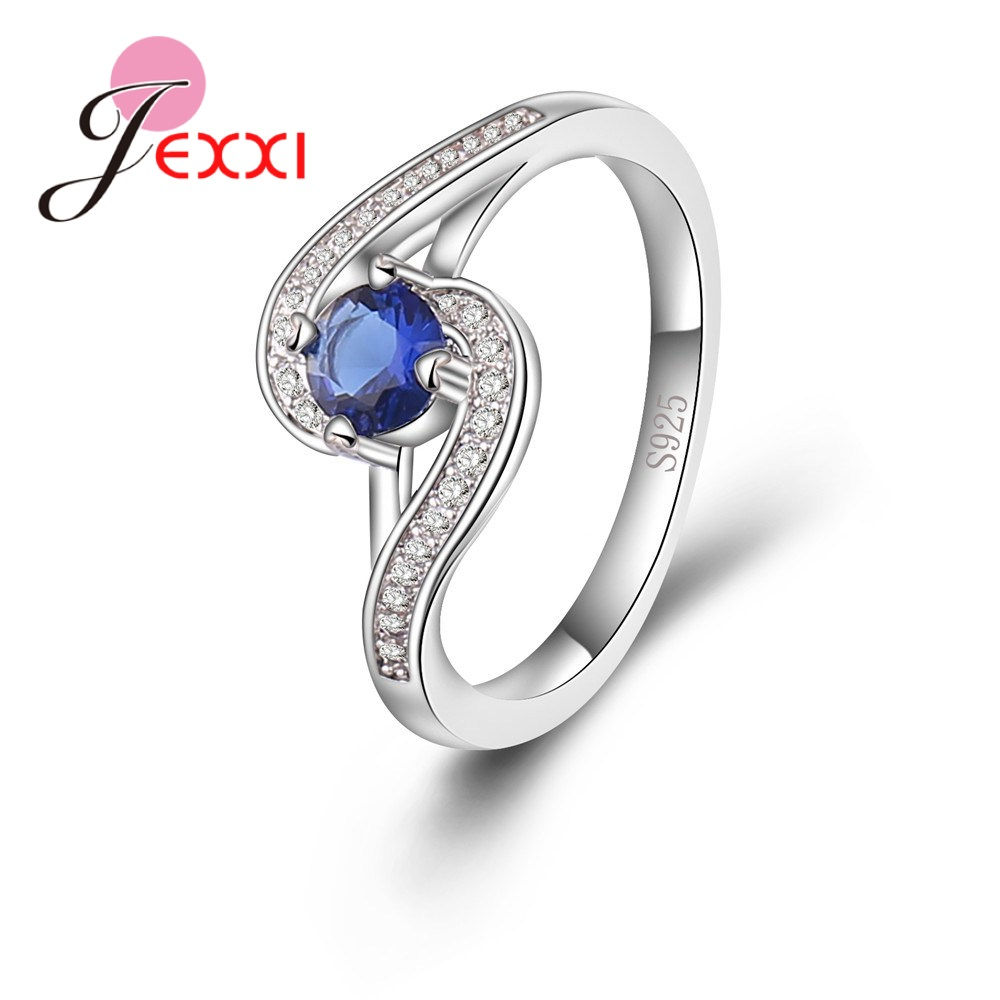 Real Pure 925 Sterling Silver Rings For Women Bridal Clear Blue Crystal Stone Trendy Wedding Engagement Femme Jewelry
