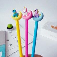 Bolígrafo de Gel de unicornio con diseño de Luna para estudiantes, bolígrafo de escritura de dibujos animados coreanos para oficina y escuela, al por mayor, 30 Uds.