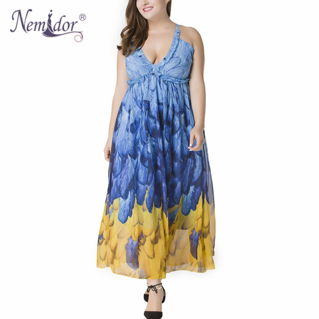 Women Sexy Halter Backless Print Dress Plus Size 7XL Sleeveless Vintage Beach Chiffon Party Long Dress