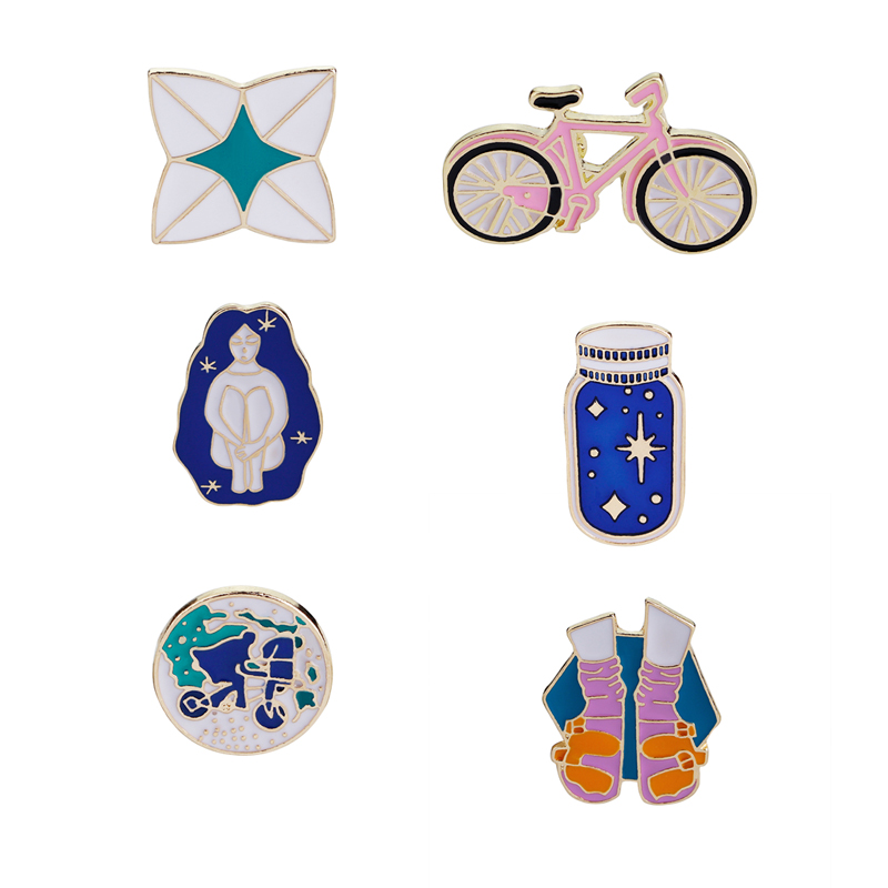 World Travel Brooches Bicycle Wishing Bottle Shoes Origami Girl Enamel Pin Round Geography Pin Planet Earth Pin Badge Gifts