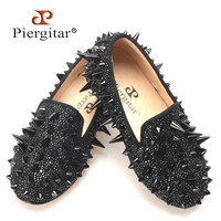 Новый ручной Piergitar Дети Мокасины с черным длинным заклепки и горный хрусталь Детская платье и вечерние Туфли без каблуков