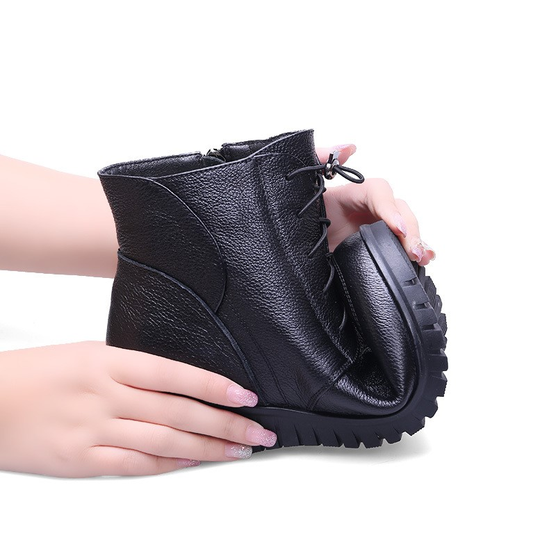 Image 5 - GKTINOO Winter Women Shoes Woman Genuine Leather Flat Ankle Boots Female Lace up Warm Wool Snow Boots Women Boots-in Ankle Boots from Shoes