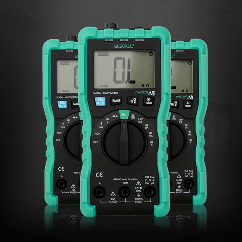 ELECALL MK72M multimetro digitale di prova mini vero RMS multi-funzione di resistenza condensatore tester multimetro con sonde cavo