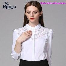 Ruoru Slim Women's Body Suit Three Quarter Chiffon Body Blouse Lace White Blouse Black Lace Tops Body Blusas Embroidery Blouse lace panel blouse