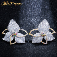 CWWZircons два тона полный микро проложить кубического циркония камни Геометрическая большая роскошь CZ цветок серьги для Для женщин Jewelry CZ419