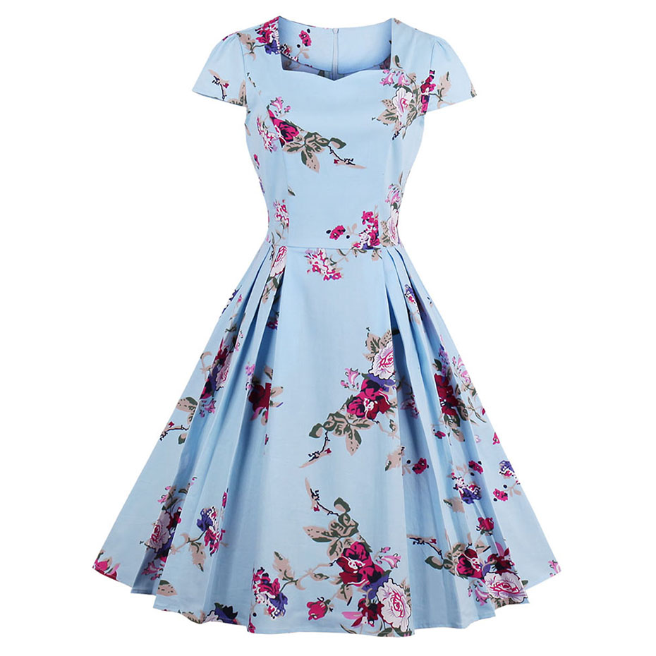 Women vintage dress a-line slim retro casual short dress elegant pleated square collar print floral dress summer plus size dress