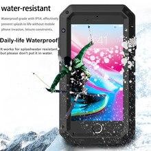 Capa anti poeira impermeável, capinha luxuosa à prova de choque para iphone xs max xr 10 doom capa de metal de alumínio para iphone 8 7 6s plus 5S se