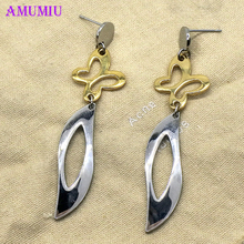 AMUMIU Fashion Four-leaf Clover Silver Women Earrings Wholesale Silver Plated Earring Wedding Jewelry Accessories E012 brand wedding jewelry set leaf clover necklace 6 clover sterling silver jewelry white peal shell two flower earring set