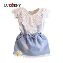 LUEISENY Baby Girls Dress Cute Sleeveless Denim Tulle Bowknot Princess Dresses  Cotton Kids Clothes цена 2017