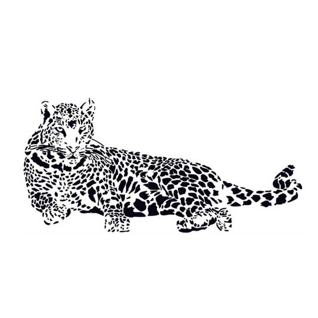 Fashion Black PVC Wall Stickers Cheetah Leopard D Removable Wall - Zoo animal wall decals