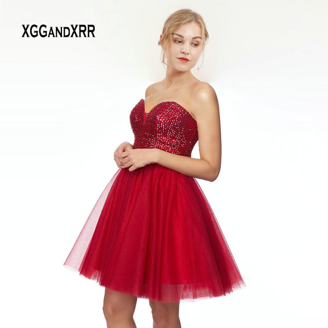 Luxury Short Homecoming Dress tulle Dress 2019 Sweetheart off Shoulder Sexy Backless Red Crystal Girls Graduation Gown Plus Size