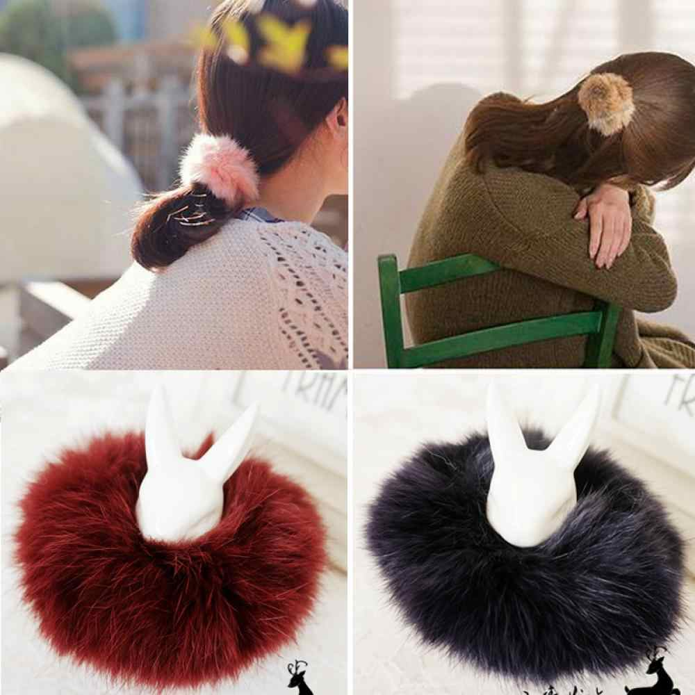 1PC Women Fashion Hair Bands Ropes Tail Accessories Scrunchie Rabbit Fur Ponytail Girl Elastic Plush Hair Holder
