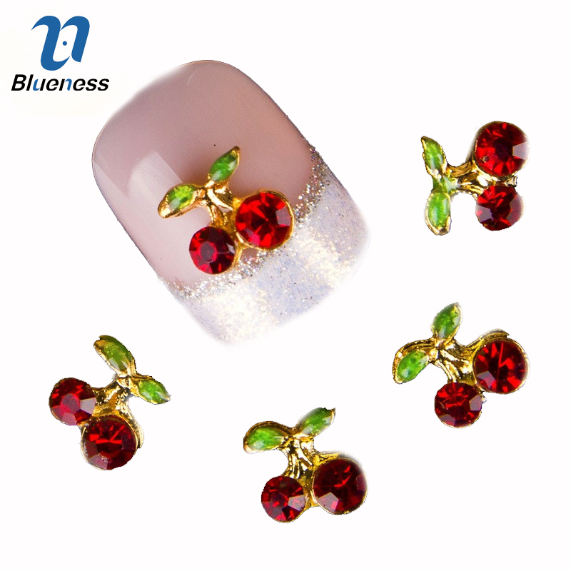 Blueness 10Pcs/lot Red Cherry 3D Nail Art Charm Decorations Alloy Glitter Jewelry Rhinestones For Nail Studs Tools DIY Gem TN061 10pcs glitter crystal nail gem rhinestones alloy 3d nail art jewelry diy phone case decoration mns784