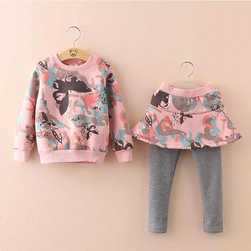 2015 autumn and winter Korean version new styles girls fashion print plus velvet thick sweatshirts culottes sets  TZ-2588 korean fashion shop 7th 6388 2015