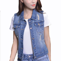 Summer Women Crop Top 2017 New Solid Short Hole Denim Tank For Women Vintage Ripped Holes Button Female Fashion Jeans