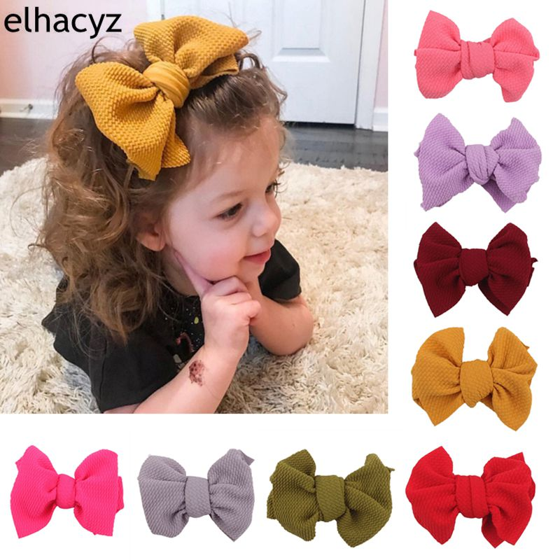 2019 New Arrival 4.5'' Waffle Fabric Hair Bow With Clip For Girls Soft Solid Elastic Kids DIY Hair Accessories
