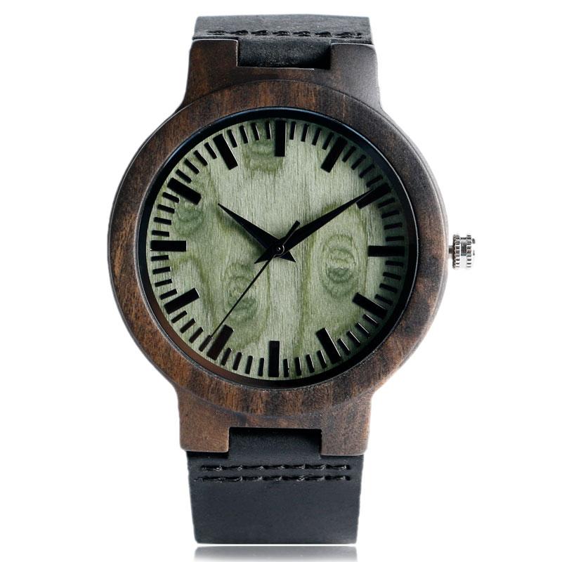 Loominguline puidust kella 2017 Minimalistlik kella bambusest nahast - Meeste käekellad - Foto 1