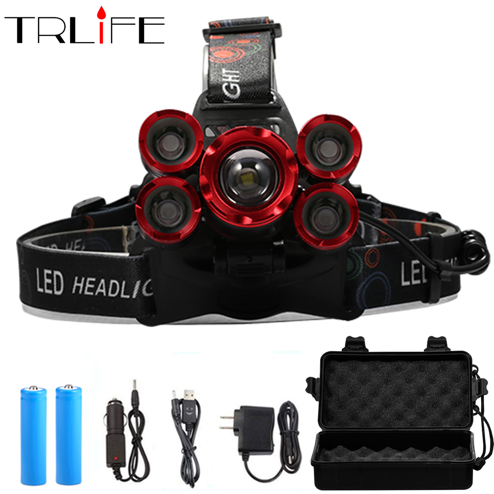 LED Headlamp 5*T6 Headlight 4mode Torch Head Lamp Flashlight For Fishing Camping Light+2*18650 Battery+AC/DC Charger+BOX