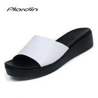 Plardin 새로운 보헤미아 여름 캐주얼 여성 웨지 플랫 샌들 플랫폼 여성 비치 신발 플립 정품