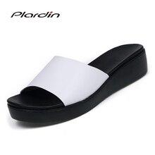 Plardin Nouvelle Bohême D'été Occasionnels Femmes coins Sandales Plates Plate-Forme Femme Dames Chaussures de Plage Flip Flops chaussures en cuir Véritable