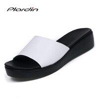 Plardin Yeni Bohemia Yaz Rahat Kadın takozlar Düz Sandalet Platformu Kadın Bayanlar Plaj Ayakkabı Flip Flop Hakiki deri ayakkabı